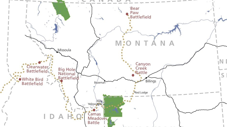 Map of Idaho, Wyoming, and Montana showing the path of flight the Nez Perce took.