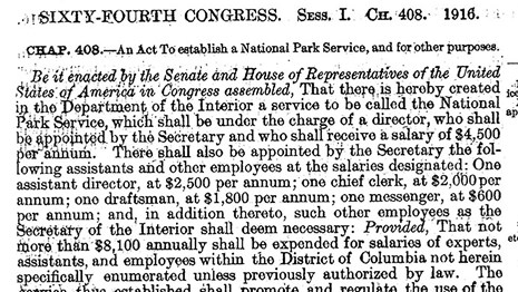 Text of the act that created the National Park Service.