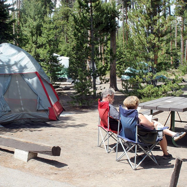 Tent campsite with visitors