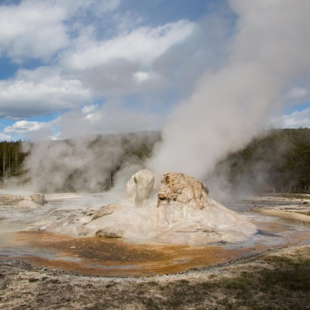 A geyser in eruption