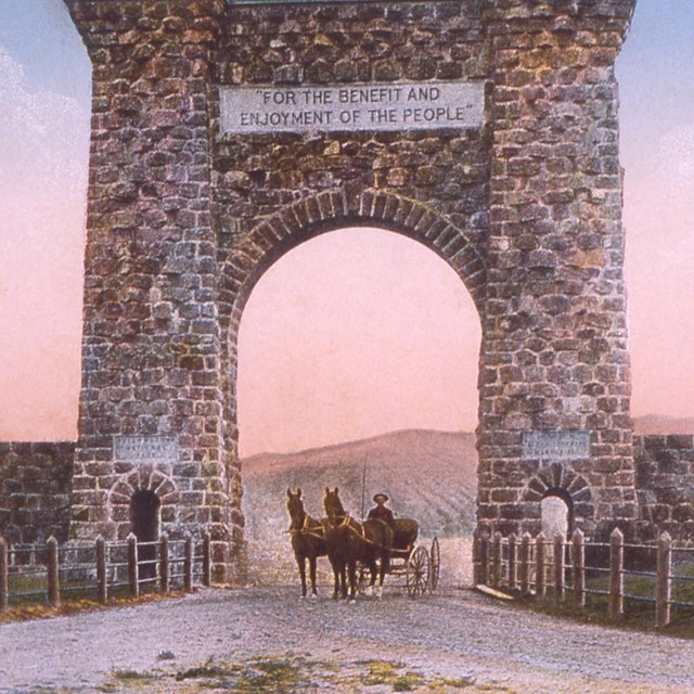 Scan of an historic Haynes postcard showing Roosevelt Arch