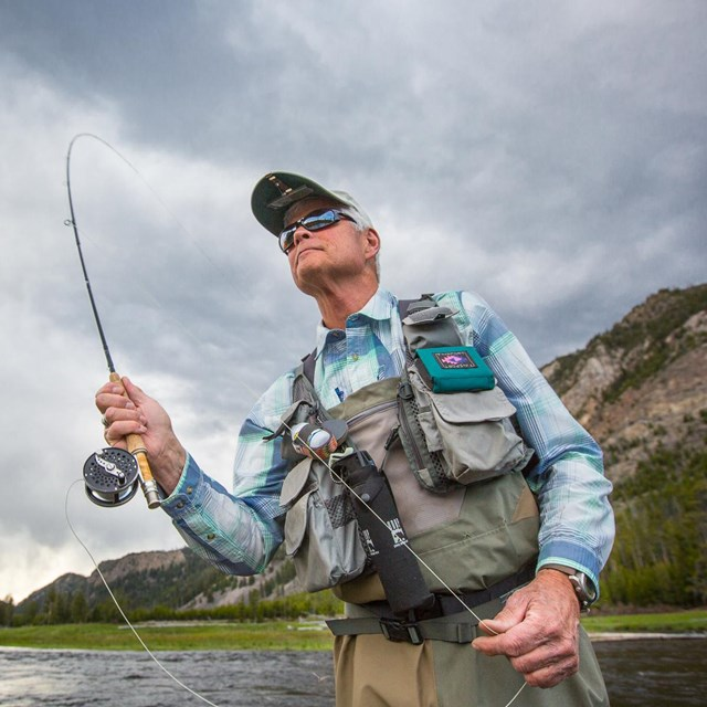 Angler fishing in Yellowstone