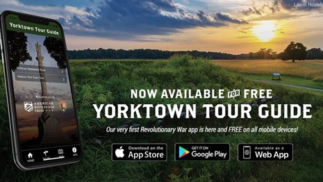 photo of cell phone with Yorktown Tour Guide App
