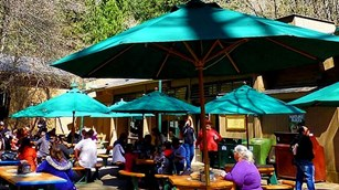 People dining under outdoor green umbrellas.