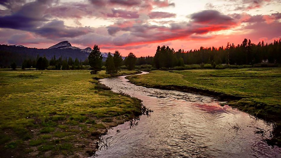 Image of Tuolumne River and Lembert Dome at sunset