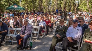 Image of crowd from dedication of newly renovated Mariposa Grove of Giant Sequoias