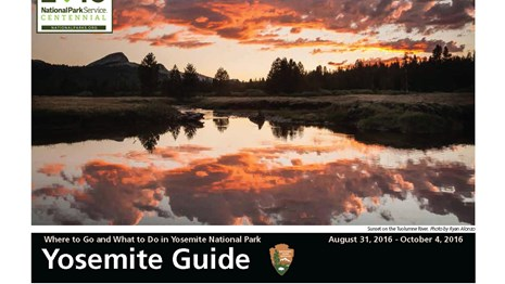 Image of the front of the Yosemite Guide newspaper