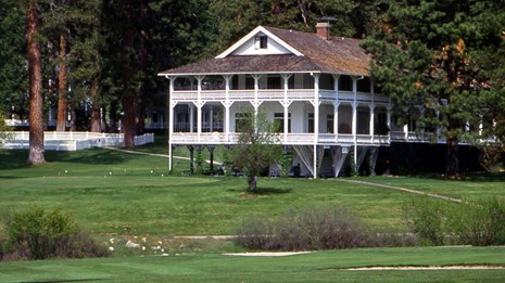 Wawona hotel with golf course in foreground