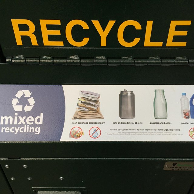 Image of recycling options at a can in Yosemite Valley