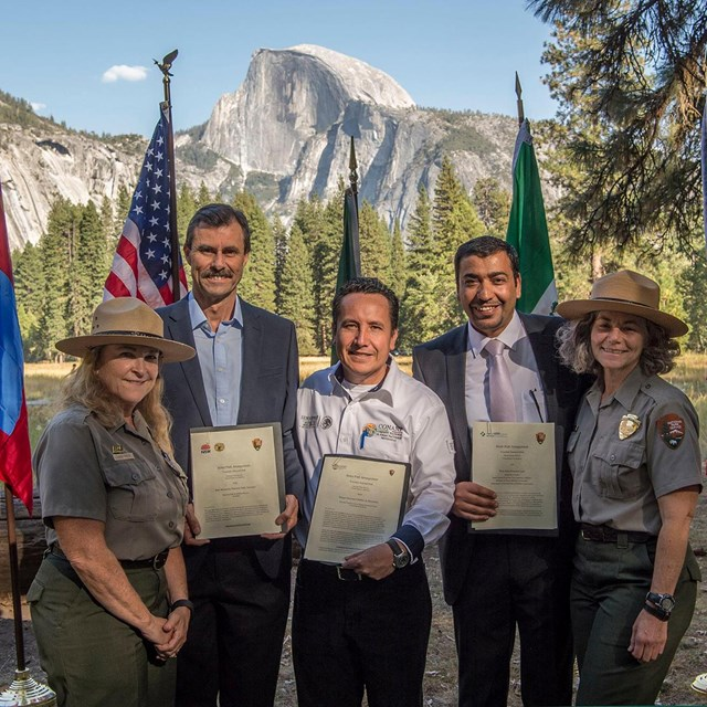 Yosemite rangers and those from other countries sign new sister park agreements.