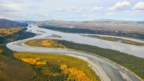 Aerial view of the Yukon River in fall