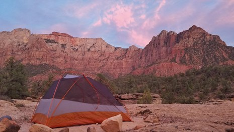 A tent in front of red sandstone cliffs and pink clouds.