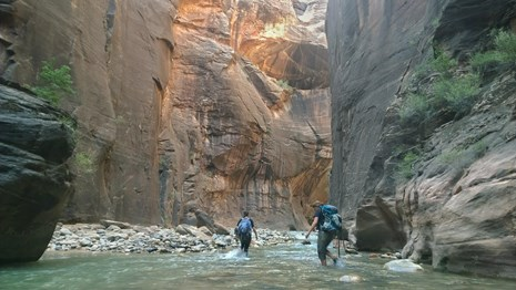 Two hikers walking in a river surrounded by tall cliffs.