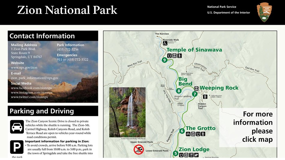 Zion National Park (U.S. National Park Service) on redwood national park map, symbol national park on map, angels landing trail map, acadia national park on a map, bryce canyon np map, canyonlands national park road map, city of rocks national reserve map, bryce canyon road map, sequoia national park map, grand canyon map, grand staircase escalante national monument map, zion subway map, salt lake city map, death valley map, monument valley map, st. george map, antelope canyon map, denali national park and preserve map, arches national park topographic map, lake tahoe map,