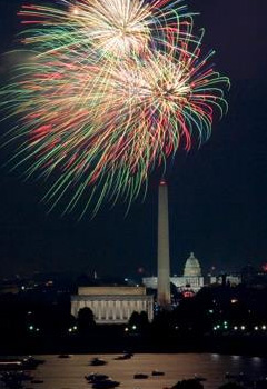 Fireworks over the Lincoln Memorial and Washington Monument.
