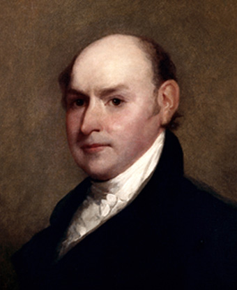 Portrait of John Quincy Adams, bald in black coat and white frilly shirt