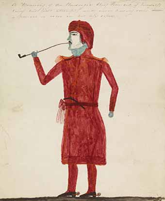 Watercolor self-portrait of Josiah Francis: man in red robe, holding pipe