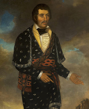 Painting of William McIntosh, wearing a ceremonial robe