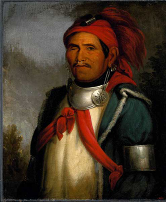 Tenskwatawa, American Indian wearing blue coat and red turban