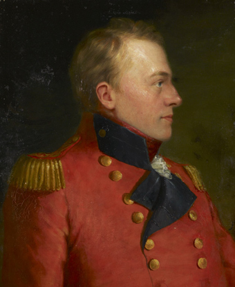 Portrait of Isaac Brock wearing red coat with gold epaulets