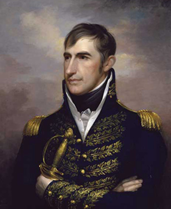 Portrait of General William Henry Harrison in black coat with gold trim