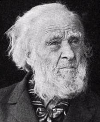 Photograph of Hiram Cronk: an old man with white hair and white beard