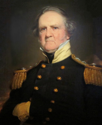 Portrait of General Winfield Scott in black coat with gold buttons and epaulets