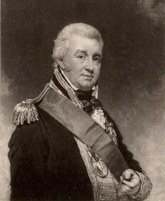 Black and white image of painting of Alexander Cochrane, wearing sash and military coat