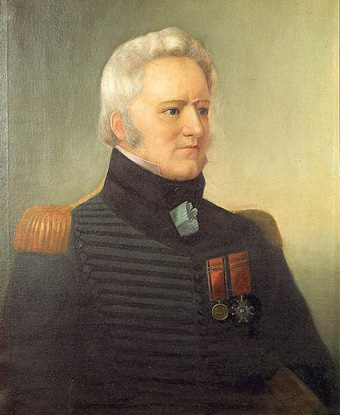 Portrait of Salaberry wearing military coat with epaulets and two medals