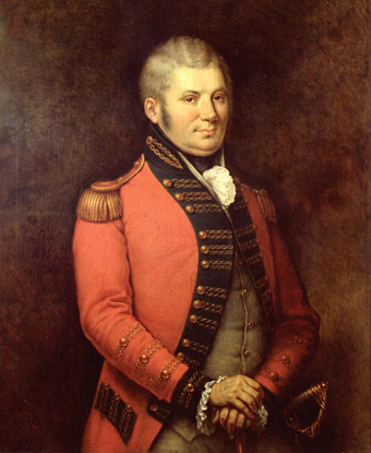 Portrait of John Graves Simcoe in red coat with gold epaulets
