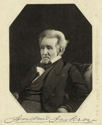 Photograph Of An Elderly Andrew Jackson With Long White Hair And Black Coat