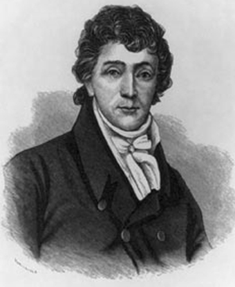 Drawing of Francis Scott Key with black coat and wrapped necktie