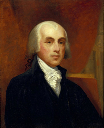 Portrait of James Madison with powdered white hair, black coat and ruffled necktie