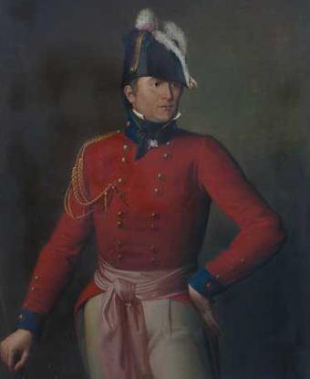 Portrait of Robert Ross in feathered hat, red coat and sash