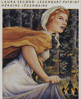 Laura Secord, legendary heroine: Laura in bonnet and cape running