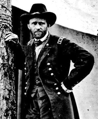 Photo Of Ulysses S Grant Leaning Against A Tree Trunk In Front White