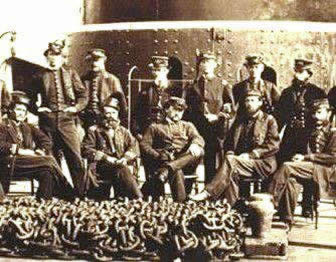 Photo of 15 officer's on the deck of a Union Monitor warship.