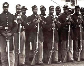 Wartime photo of Union regiment of African American soldiers.
