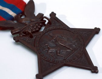 Close up image of a Civil War Medal of Honor.