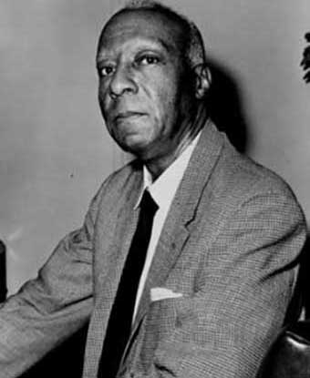 Photo of A. Phillip Randolph seated taken from right