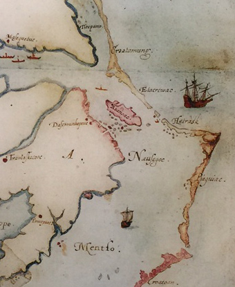 Portion of John White's 1585 map of the Outer Banks, showing Roanoke Island.
