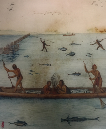 Portion of John White's depiction of Algonquian fishing with canoe.