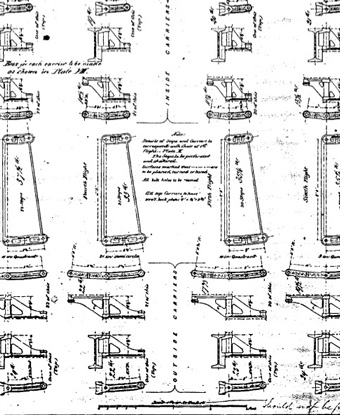 Portion of 1871 blueprints for the third Bodie Island Lighthouse