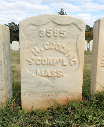 White headstone of James Gooding