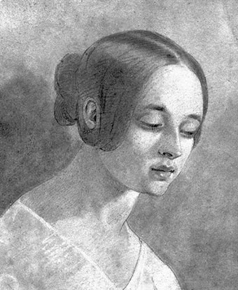 Black and white bust-length pencil drawing of a young woman with dark hair.