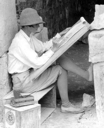 Ann Axtell Morris painting in an archaeological site.
