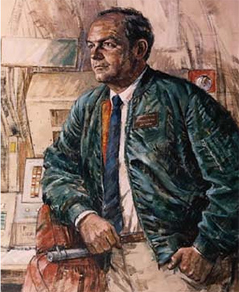 Portrait of Secretary Reed at a missile combat crew console