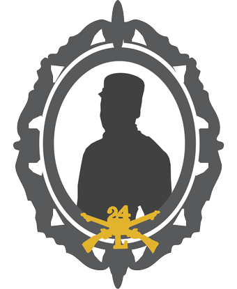 Cameo style silhouette of a soldier with Company L, 24th Infantry crossed guns logo