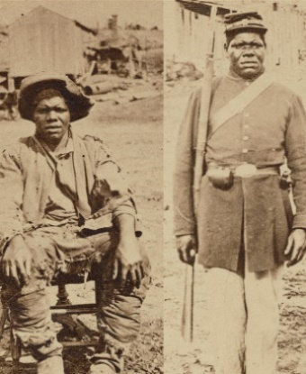 Before and after photo of man as a slave and as a soldier