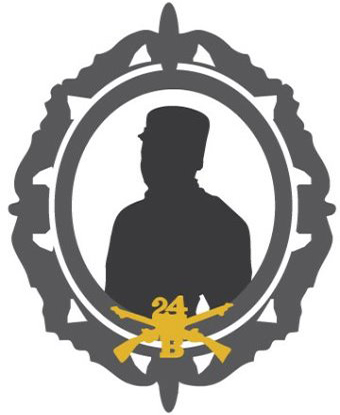 Image of graphic outline of soldier with insignia for 24th Infantry Company B